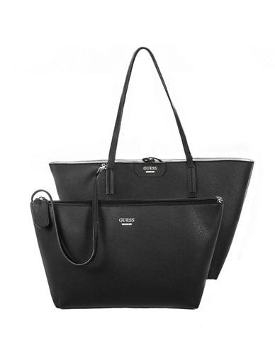 Guess Bobbi Inside-Out Tote Set-BLACK-One Size