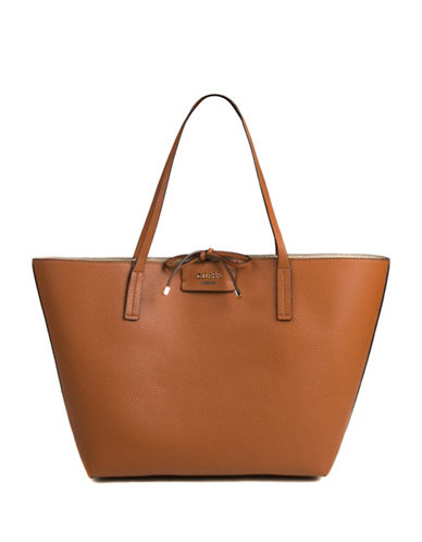Guess Bobbi Inside-Out Tote Set-COGNAC-One Size