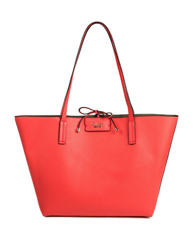 Guess Bobbi Inside-Out Tote Set-TOMATO-One Size