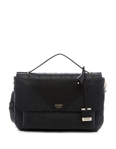 Guess Cammie Top Handle Flap Satchel Bag-BLACK-One Size