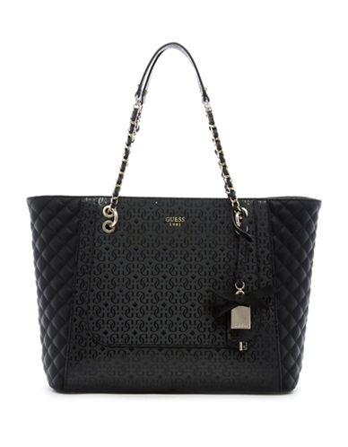 Guess Marian Logo-Embossed Tote-BLACK-One Size 88751850_BLACK_One Size