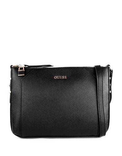 Guess Gia Saffiano Crossbody Bag-BLACK-One Size