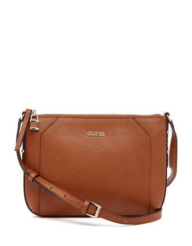 Guess Gia Saffiano Crossbody Bag-BROWN-One Size