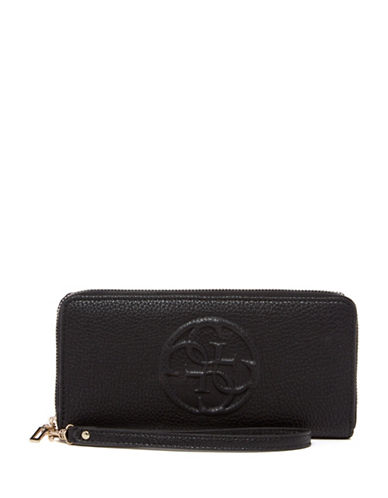 Guess Korry Crush Zip-Around Wallet-BLACK-One Size