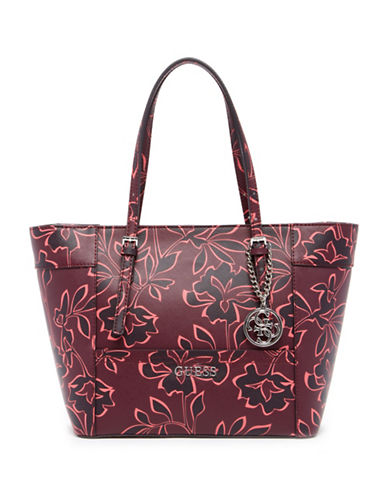 Guess Delaney Floral-Print Tote-RED-One Size