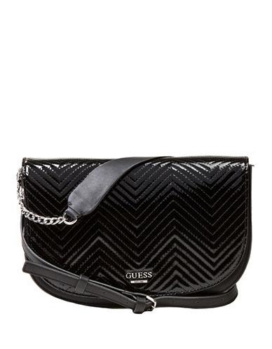 Guess Devyn Saddle Bag-BLACK-One Size