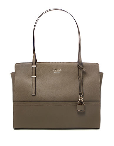 Guess Devyn Large Faux Leather Satchel-OLIVE-One Size