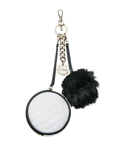 Guess Tenley Pom Pouch Keychain-WHITE-One Size