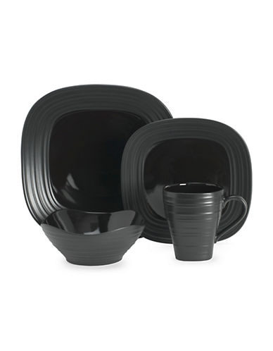 Mikasa Swirl Square Black 4 Piece Place Setting-BLACK-One Size