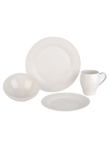Mikasa Swirl White 4 Piece Placesetting Set-WHITE-One Size