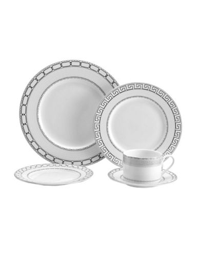 Mikasa Calista 5 Piece Place Setting-WHITE WITH PLATINUM DETAILING-One Size