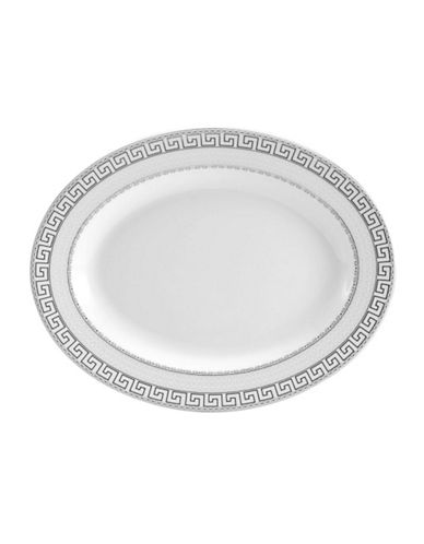 Mikasa Calista Oval Platter-WHITE WITH PLATINUM DETAILING-One Size