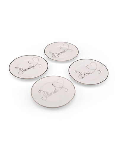 Mikasa Love Story Sentiments Accent Plates Set of 4-WHITE-One Size
