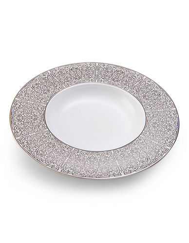 Mikasa Blanc Rim Soup Bowl-WHITE/PLATINUM-One Size