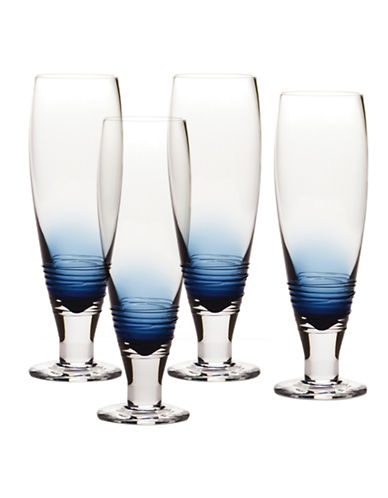 Mikasa Swirl Cobalt Pilsner Glass  Set of 4-BLUE-One Size