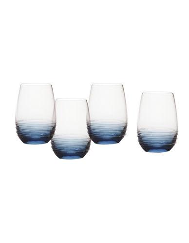 Mikasa Swirl Cobalt Stemless Wine Glass  Set of 4-BLUE-One Size
