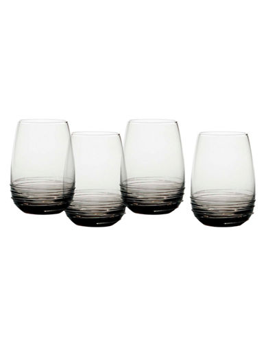 Mikasa Swirl Smoke Stemless Wine Glass  Set of 4-GREY-One Size
