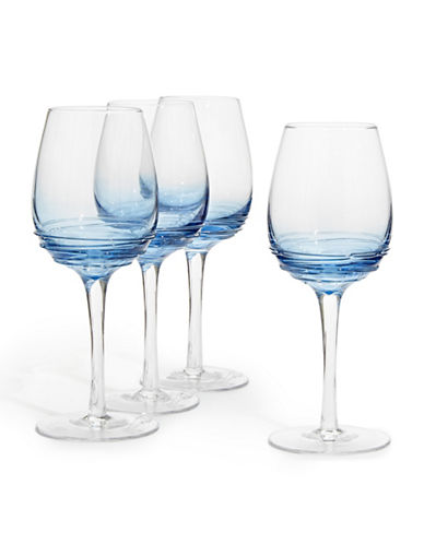 Mikasa Swirl Cobalt White Wine Glass  Set of 4-BLUE-One Size