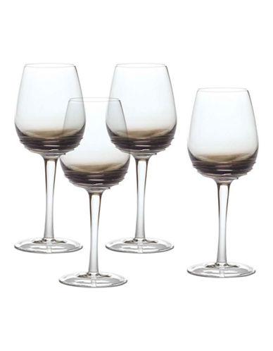 Mikasa Swirl Smoke White Wine Glass  Set of 4-GREY-One Size