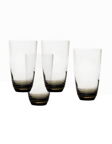 Mikasa Swirl Smoke Hiball Glass  Set of 4-GREY-One Size