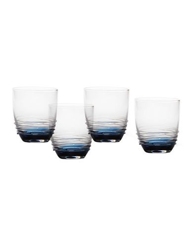Mikasa Swirl Cobalt Double Old Fashioned Glass  Set of 4-BLUE-One Size