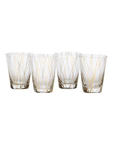 Mikasa Lustre Dots Gold Double Old Fashioned Glasses Set of 4-GOLD-One Size