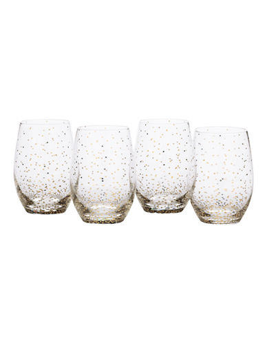 Mikasa Lustre Dots Gold Stemless Wine Glasses Set of 4-GOLD-One Size