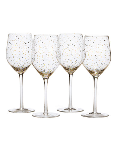 Mikasa Lustre Dots Gold Wine Glasses Set of 4-GOLD-One Size
