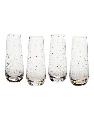 Mikasa Lustre Dots Gold Stemless Flute Set of 4-GOLD-One Size