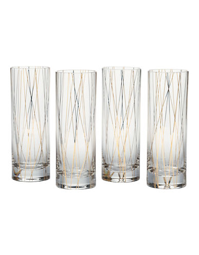 Mikasa Lustre Dots Gold Collins Glasses Set of 4-GOLD-One Size