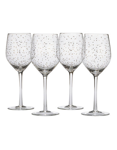 Mikasa Lustre Dots Platinum Wine Glasses Set of 4-SILVER-One Size