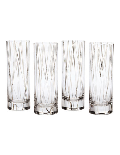 Mikasa Lustre Dots Platinum Collins Glasses Set of 4-SILVER-One Size