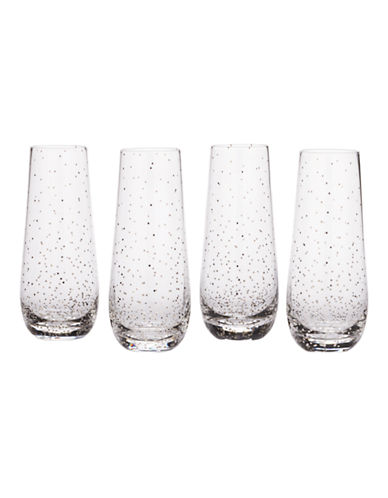 Mikasa Lustre Dots Platinum Stemless Flute Set of 4-SILVER-One Size