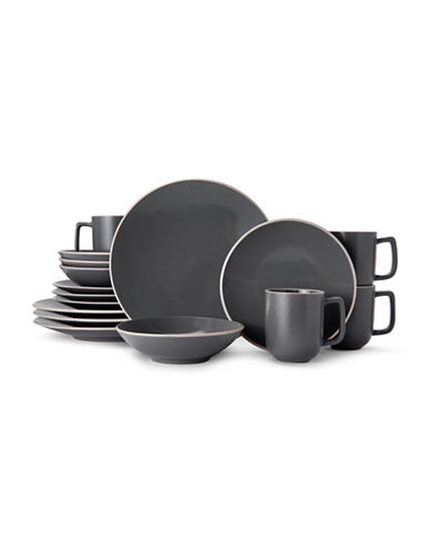Mikasa Leah Charcoal 16-Piece Dinnerware Set-CHARCOAL-One Size