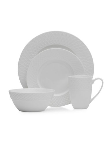 Mikasa 16-Piece Trellis Dinnerware Set-WHITE-One Size