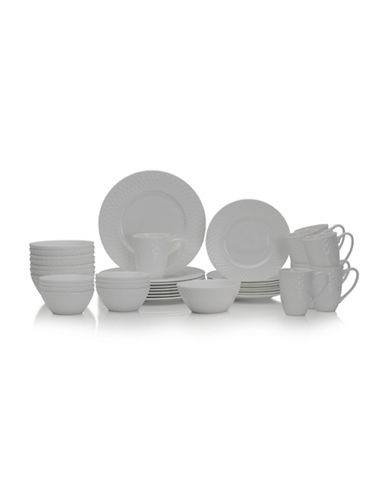 Mikasa 40-Piece Trellis Dinnerware Set-WHITE-One Size