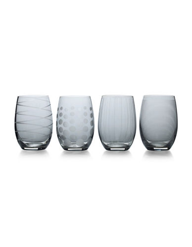 Mikasa Four-Piece Cheers Stemless Wine Glasses Set-SMOKE-One Size