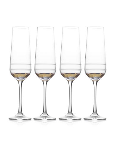 Mikasa Four-Piece Lux Gold Crystal Flute Glasse Set-GOLD-One Size