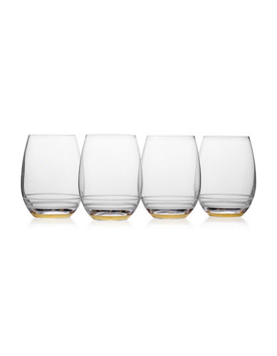 Mikasa Four-Piece Lux Gold Crystal Stemless Wine Glass Set-GOLD-One Size