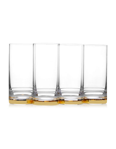 Mikasa Four-Piece Lux Gold Crystal Highball Glass Set-GOLD-One Size