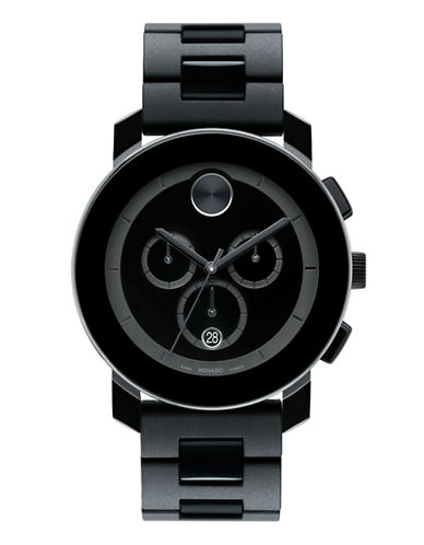 Movado Bold Mens Black Stainless Steel Watch-BLACK-One Size