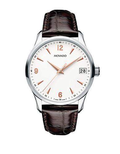 Movado Men's Circa Brown Leather Strap Watch-BROWN-One Size