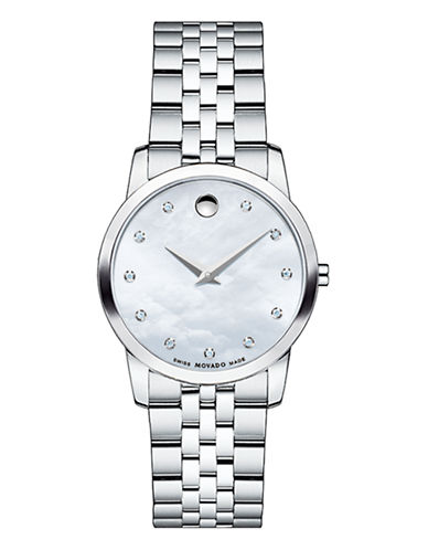 Movado Museum Stainless Steel Mother-of-Pearl Diamond Accent Bracelet Watch-SILVER-One Size