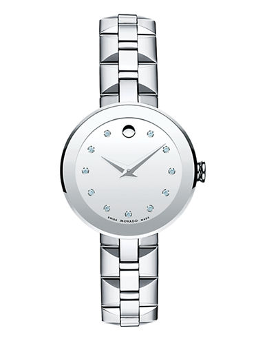 Movado Ladies Sapphire Watch-SILVER-One Size