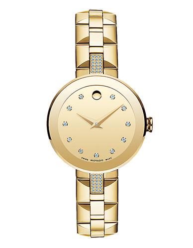 Movado Sapphire Analog 18K Gold-Plated Diamond Marker Bracelet Watch-GOLD-One Size