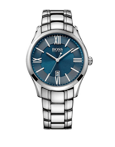 Boss Stainless Steel Three Link Bracelet Watch-BLUE-One Size