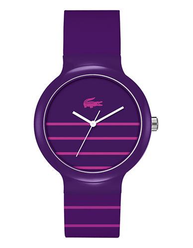 Lacoste Goa Crocodile Silicone Strap Watch-PURPLE-One Size