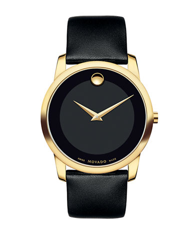 Movado Museum Classic Goldtone Leather Strap Watch-BLACK-One Size