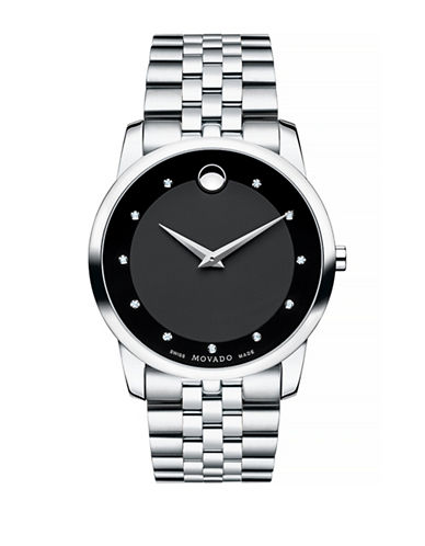 Movado Museum Classic Analog Watch with Diamond Markers-SILVER-One Size