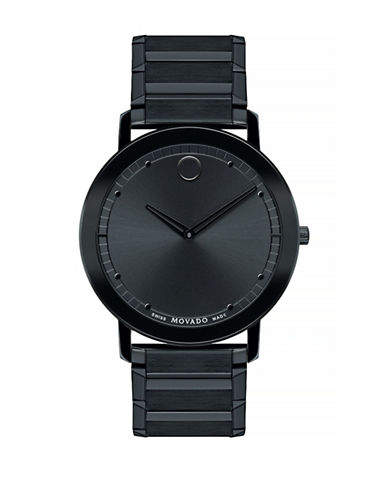 Movado Sapphire Stainless Steel Analog Watch-BLACK-One Size